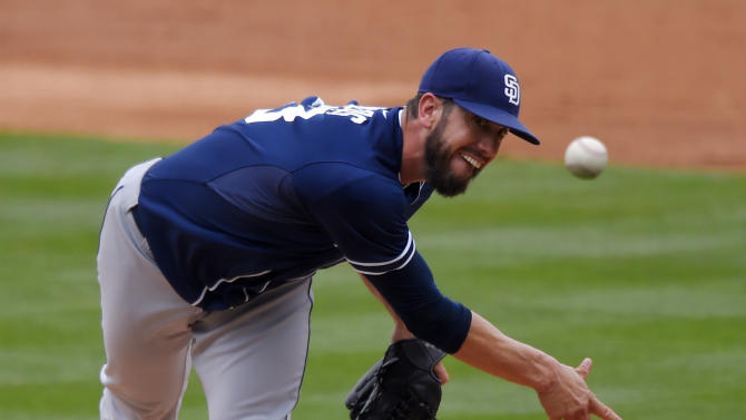 San Diego Padres starting pitcher James Shields throws to the plate during the second inning of a baseball game against the Los Angeles Dodgers, Sunday, May 24, 2015, in Los Angeles. (AP Photo/Mark J. Terrill)