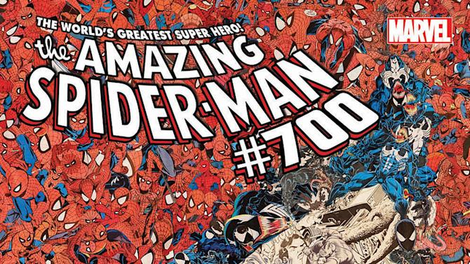 """This undated photo provided by Marvel Comics shows the cover of the 700th and final issue in the comic book series """"The Amazing Spider-Man,"""" issued Wednesday, Dec. 26, 2012. The series ends as Peter Parker meets his doom. But Spider Man's adventures will continue with the debut of """"Superior Spider-Man"""" in January 2013. (AP Photo/Marvel Comics)"""