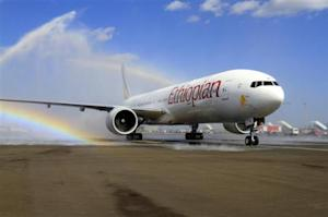 Ethiopian Airlines' newly acquired Boeing 777-300ER aircraft, with a seating capacity of 400 passengers, arrives at the Bole International Airport in Capital Addis Ababa