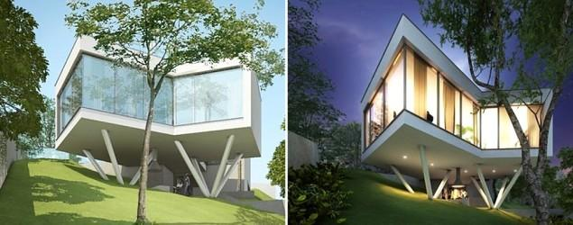Glassy 6-sided home hovers above the ground