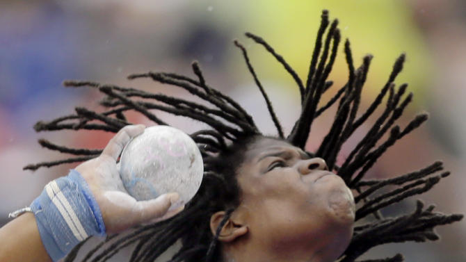 Felisha Johnson competes in the women's shot put qualifying round  at the U.S. Olympic Track and Field Trials Thursday, June 28, 2012, in Eugene, Ore. (AP Photo/Matt Slocum)