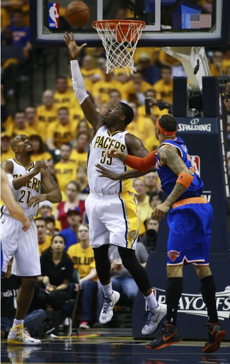 Indiana Pacers' Roy Hibbert scores on New York Knicks' Martin during their NBA playoff basketball game in Indianapolis