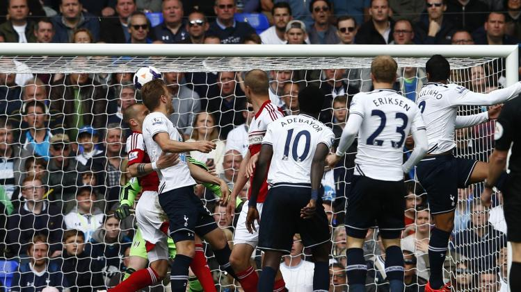 Tottenham Hotspur's Kane scores a goal against Fulham during their English Premier League soccer match at White Hart Lane in London