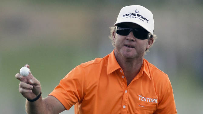 Brian Gay waves after winning the Humana Challenge golf tournament on the Palmer Private Course at PGA West in La Quinta, Calif., Sunday, Jan. 20, 2013. (AP Photo/Chris Carlson)