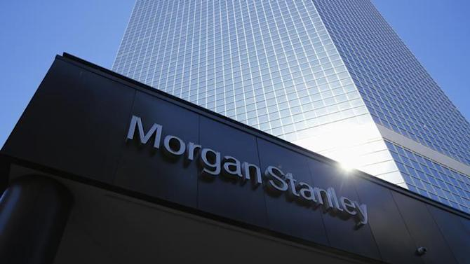 The corporate logo of financial firm Morgan Stanley is pictured on a building in San Diego