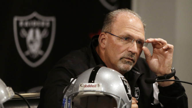 Oakland Raiders interim coach Tony Sparano answers questions from reporters during a news conference Tuesday, Sept. 30, 2014, in Alameda, Calif. The NFL football teamed Sparano as interim coach on Tuesday, a day after firing Tony Allen as coach