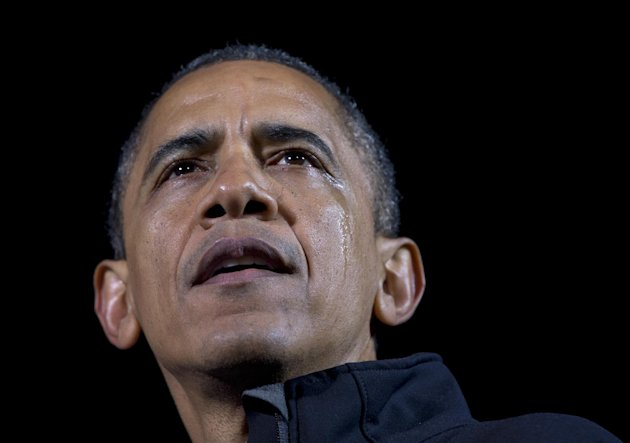 President Barack Obama speaks, as a tear streams down his face, at his final campaign stop on the evening before the 2012 presidential election, Monday, Nov. 5, 2012, in Des Moines, Iowa. (AP Photo/Ca