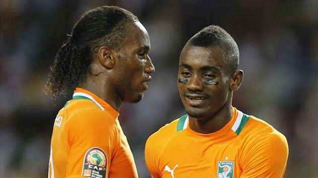 Ivory Coast&#39;s Didier Drogba with Salomon Kalou