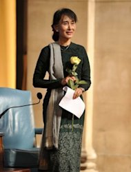 Myanmar member of parliament Aung San Suu Kyi, pictured on September 22 in New York. In rural Myanmar determined farmers and villagers are risking the ire of authorities by standing up to big business in a litmus test of new rights unthinkable during decades of military rule