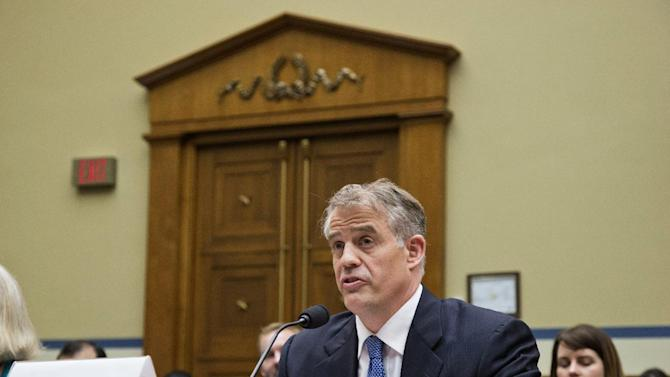 Nicholas Whitcombe, supervisory senior investment officer with the Energy Department's Loan Programs Office, testifies on Capitol Hill in Washington, Wednesday, April 24, 2013, before the House Oversight subcommittee on Economic Growth, Job Creation, and Regulatory Affairs hearing on Energy Department loans to failed electric car maker Fisker Automotive.   (AP Photo/J. Scott Applewhite)