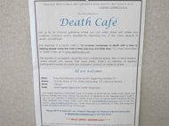 This photo of Oct. 17, 2013, shows an invitation to a Death Cafe discussion in New York City. Death Cafes, where people talk freely about death-related issues, are rapidly spreading through the U.S. and the world. (AP Photo/Jim Fitzgerald)