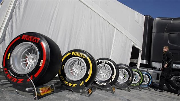 Pirelli Formula One tyres are seen in the paddock during a training session at Circuit de Catalunya racetrack, in Montmelo, near Barcelona