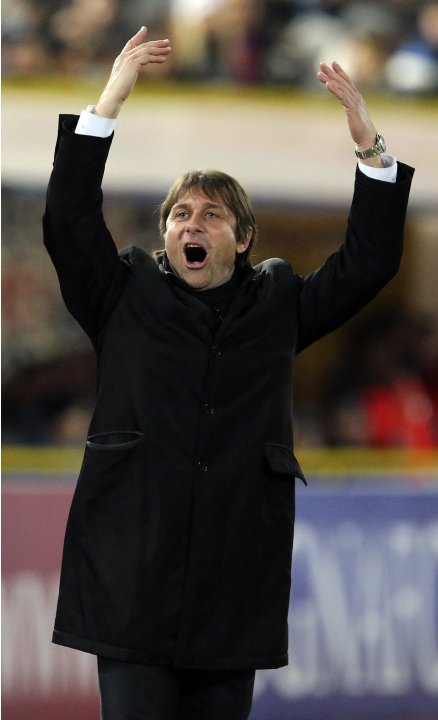 Juventus coach Antonio Conte reacts during their Italian Serie A soccer match against Bologna at Renato Dall'Ara stadium in Bologna