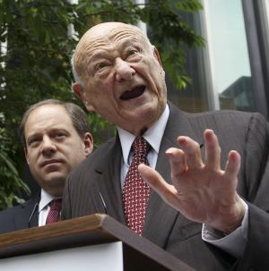 FILE - In this May 16, 2012 file photo, former New York City mayor Ed Koch, right, talks to reporters as Assemblyman Rory Lancman looks on. Koch, 87, was admitted to New York Presbyterian Hospital with a respiratory infection on Tuesday, Dec. 4, 2012 and is being treated with antibiotics. It's Koch's second hospitalization in three months. (AP Photo/Seth Wenig, File)