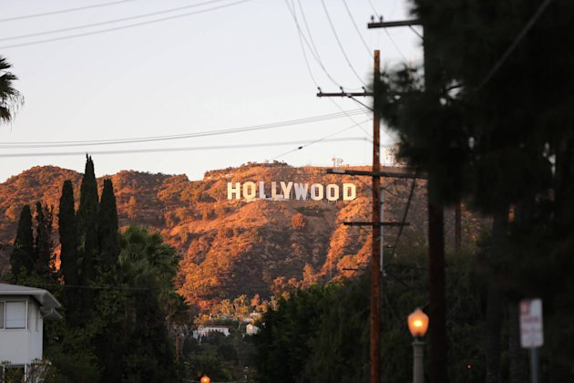 Part of the iconic Hollywood sign was missing on Thursday as it was being repaintedLos Angeles, California - 25.10.12Mandatory Credit: WENN.com