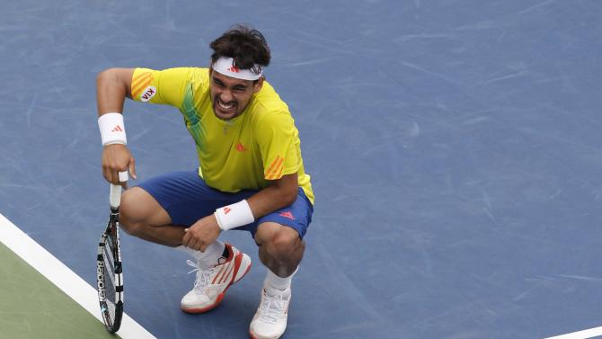 Italy's Fabio Fognini reacts during his match against Andy Roddick in the third round of play at the 2012 US Open tennis tournament,  Sunday, Sept. 2, 2012, in New York. (AP Photo/Mel C. Evans)