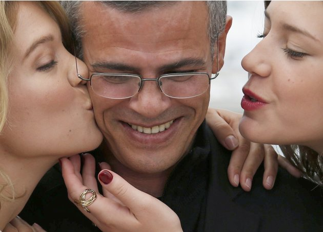 "Director Abdellatif Kechiche and cast members pose during a photocall for the film ""La Vie D'Adele"" at the 66th Cannes Film Festival"