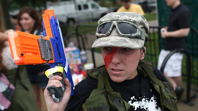 """Pro-Gun Rights Activists Stage """"Armed Toy Gun March"""""""