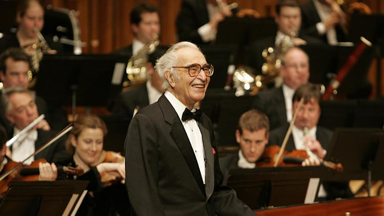 FILE - This Dec. 6, 2005 file photo shows jazz pianist Dave Brubeck at his piano as he celebrates his 85th birthday on stage at London's Barbican Hall after a performance with the London Symphony Orchestra. Brubeck, a pioneering jazz composer and pianist died Wednesday, Dec. 5, 2012 of heart failure, after being stricken while on his way to a cardiology appointment with his son. He would have turned 92 on Thursday. (AP Photo/Alastair Grant, file)