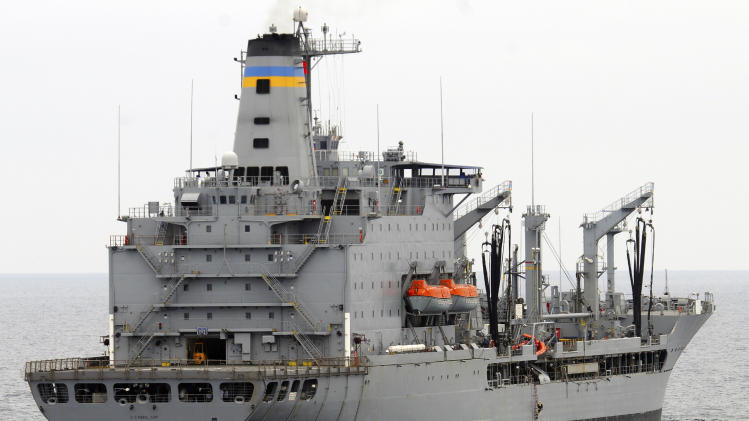 This image provided by the U.S. Navy shows the Military Sealift Command fleet replenishment oiler USNS Yukon  underway in the Pacific Ocean. The USNS Yukon and an amphibious assault ship USS Essex collided in the Pacific Ocean on Wednesday May 16,  2012, but there were no injuries and no fuel spills, the 3rd Fleet said. (AP Photo/U.S. Navy, Mass Communication Specialist Seaman John Grandin)