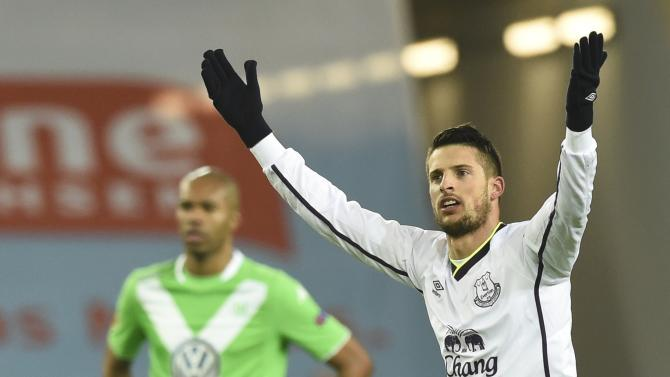 Everton's Mirallas celebrates after he scored a goal against Wolfsburg during their Europa League Group H soccer match in Wolfsburg