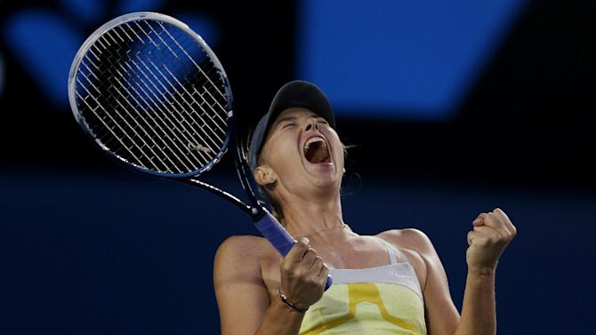 Russia's Maria Sharapova celebrates after defeating Venus Williams of the US in their third round match at the Australian Open tennis championship in Melbourne, Australia, Friday, Jan. 18, 2013. (AP Photo/Dita Alangkara)