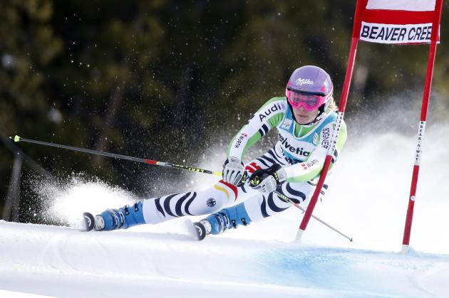 Maria Hoelf-Riesch of Germany skis during the second run on her way to finishing fifth in the women's World Cup Giant Slalom ski race in Beaver Creek