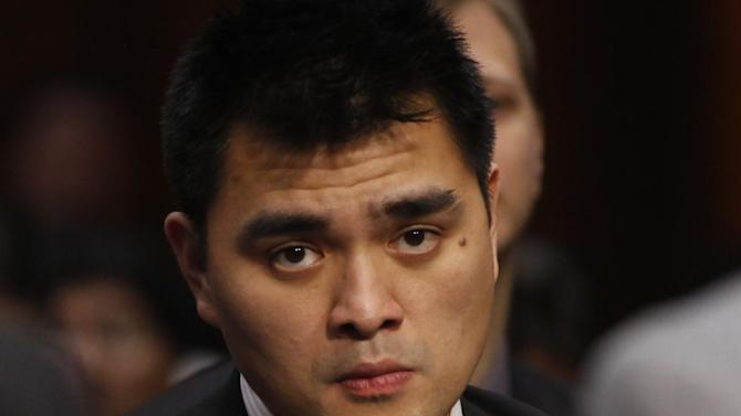 """FILE - In this June 28, 2011, file photo, Pulitzer Prize winning journalist and immigration reform activist Jose Antonio Vargas, listens as Homeland Security Secretary Janet Napolitano and Education Secretary Arne Duncan testify at a hearing regarding immigration reform and the DREAM Act on Capitol Hill in Washington. Legal immigrants living in the U.S. now surpass in number those who entered the country illegally, reflecting a dwindling inflow of Latino migrants that is creating political pressure for an immigration fix that gives legal status to the millions of undocumented already here. """"The priority now is to push a vigorous debate about the undocumented people already here. We want to become citizens and not face the threat of deportation or be treated as second class,"""" said Vargas. (AP Photo/Charles Dharapak, File)"""