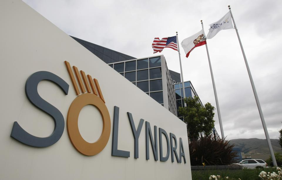 FILE - In this May 24, 2010 file photo shows the exterior view of Solyndra Inc. in Fremont, Calif. The Obama administration wanted the failing solar energy company Solyndra to delay announcing employee layoffs last year until after the 2010 midterm elections, Republican investigators say.  (AP Photo/Paul Sakuma, File)