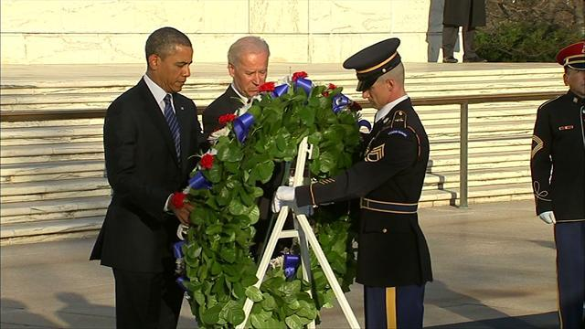 Obama, Biden lay wreath at Arlington Cemetery