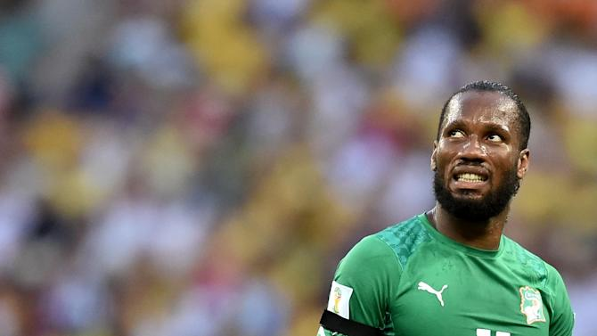 Ivory Coast's forward and captain Didier Drogba reacts during a Group C football match between Greece and Ivory Coast at the Castelao Stadium in Fortaleza during the 2014 FIFA World Cup on June 24, 2014