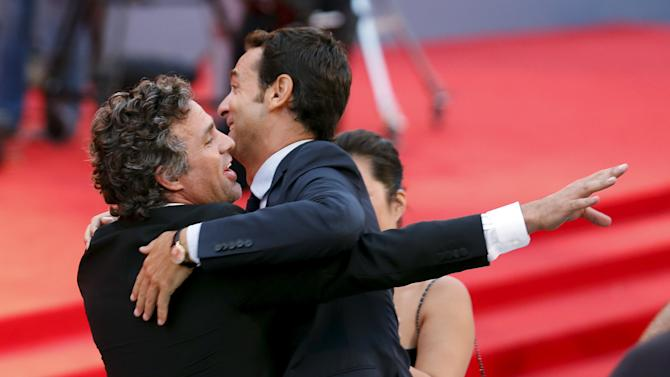 "American actor Mark Ruffalo jokes with fans as he attends the red carpet for the movie ""Spotlight"" at the 72nd Venice Film Festival"