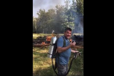 Tony Stewart uses flamethrower for afternoon activity