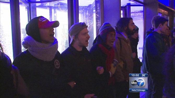 Laquan McDonald protesters march on Michigan Avenue on Black Friday