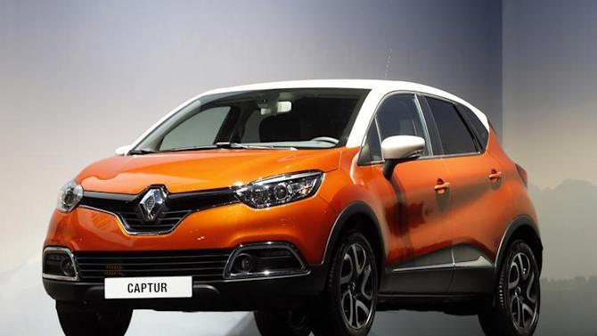 A Renault Captur car is displayed during the company's annual shareholder meeting in Paris