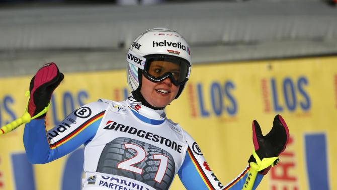 Rebensburg of Germany reacts at the finish area after missing a gate in her run in the Alpine Skiing World Cup women's downhill race in the Bavarian ski resort of Garmisch-Partenkirchen