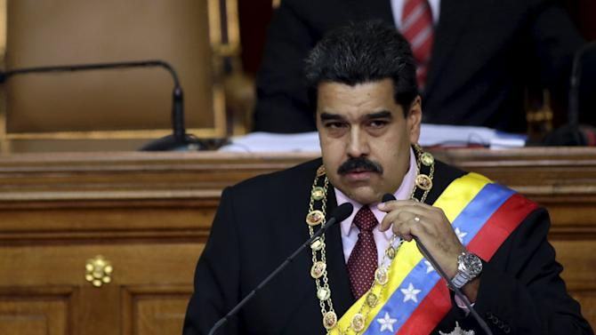 Venezuela's President Nicolas Maduro speaks at the national assembly in Caracas