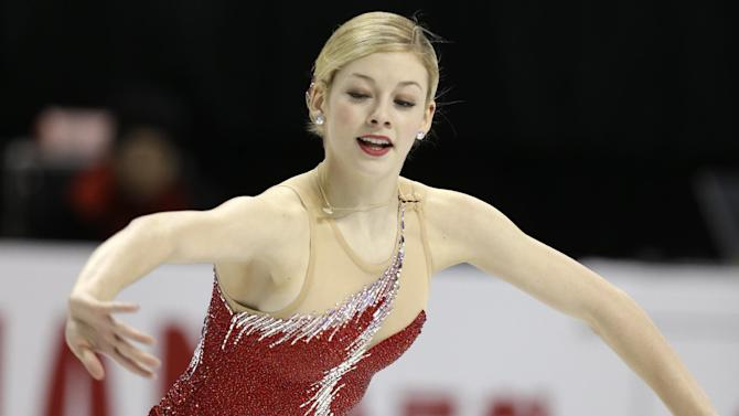 Gracie Gold of the United States performs during the ladies short program at the World Figure Skating Championships Thursday, March 14, 2013, in London, Ontario. (AP Photo/Darron Cummings)