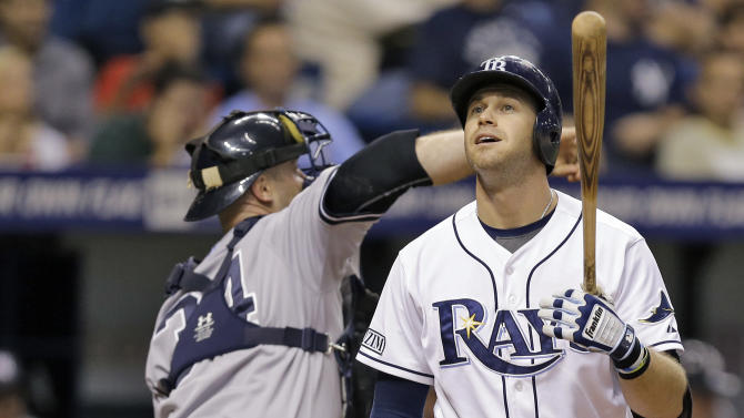 Tampa Bay Rays' Evan Longoria, right, reacts after striking out against New York Yankees relief pitcher David Robertson during the ninth inning of a baseball game Wednesday, Sept. 17, 2014, in St. Petersburg, Fla. Yankees catcher Brian McCann, left, looks on. The Yankees won the game 3-2. (AP Photo/Chris O'Meara)