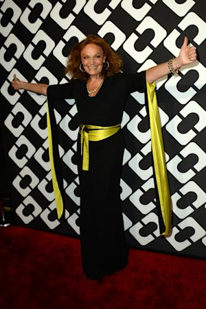 Diane Von Furstenberg attends the DVF Journey of a Dress 40th Anniversary Party at Wilshire May Company Building on Jan. 10, 2014 in Los Angeles.(Photo by Jordan Strauss/Invision/AP)