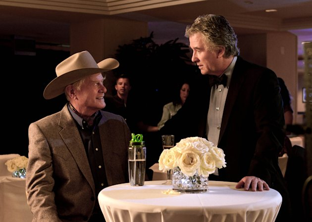"This publicity image released by TNT shows Larry Hagman as J.R. Ewing, left, and Patrick Duffy as Bobby Ewing in a scene from ""Dallas,"" on TNT. TNT begins the second season of its ""Dallas"" revival next month. The network said Tuesday, Dec. 11, that it will hold a funeral for Larry Hagman's memorable character at some point in the 15-episode season but that it hasn't been filmed or scheduled yet. Hagman died at age 81 over the Thanksgiving weekend. (AP Photo/TNT, Zade Rosenthal)"
