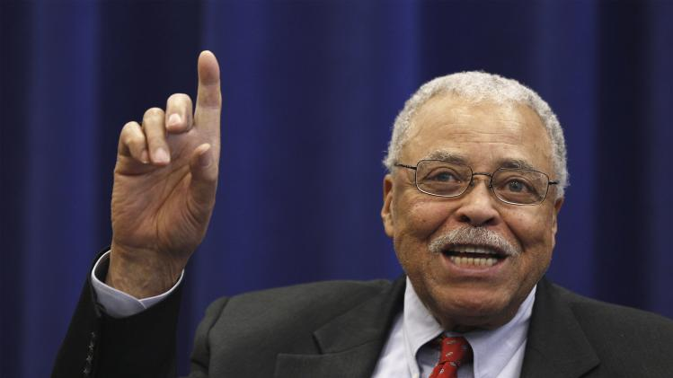 "James Earl Jones gestures as he answers a question regarding his role in Broadway production of ""The Best Man"" in New York"