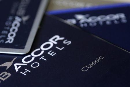 An illustration picture shows loyalty guest cards of Europe's largest hotel group Accor displayed on a desk in Paris