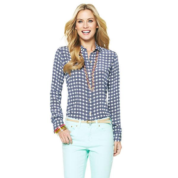 Silk tile print shirt in marine combo, $128 at cwonder.com