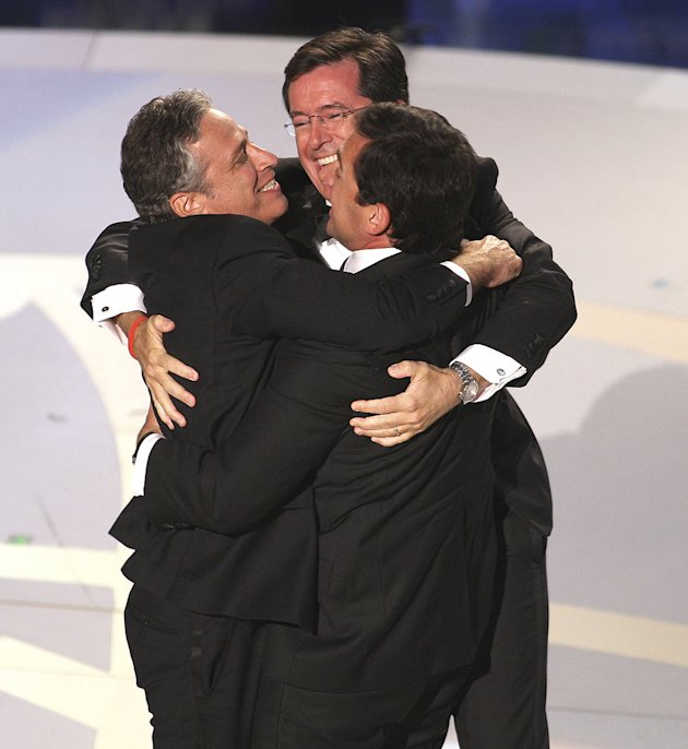 Jon Stewart, Stephen Colbert and Steve Carell during the 59th Annual Primetime Emmy Awards at the Shrine Auditorium on September 16, 2007 in Los Angeles, California. 