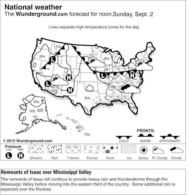 The remnants of Isaac will continue to provide heavy rain and thunderstorms through the Mississippi Valley before moving into the eastern third of the country Sunday Sept. 2, 2012.  Some additional ra