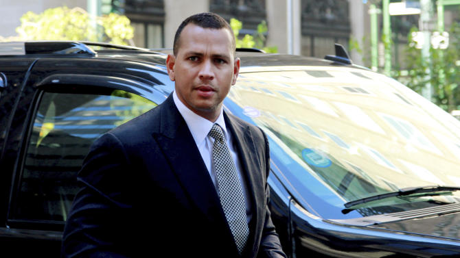 FILE - In this Oct. 1, 2013, file photo, New York Yankees' Alex Rodriguez arrives at the offices of Major League Baseball in New York, for his grievance hearing. (AP Photo/David Karp, File)