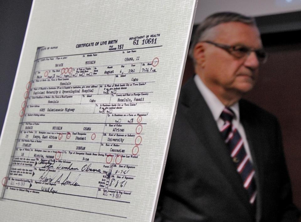 Maricopa County Sheriff Joe Arpaio exits after announcing Tuesday, July 17, 2012, in Phoenix that President Obama's birth certificate, as presented by the White House in April 2011, is a forgery based on an investigation by the Sheriff's office.  (AP Photo/Matt York)
