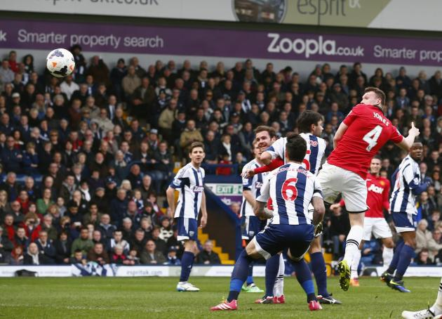 Manchester United's Jones scores a goal against West Bromwich Albion during their English Premier League soccer match at The Hawthorns in West Bromwich