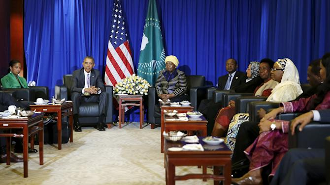 U.S. President Obama meets with African Union Chairperson Dlamini-Zuma at the African Union in Addis Ababa
